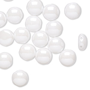 bead, preciosa candy™, czech pressed glass, opaque alabaster snow white, 8mm candy with (2) 0.8-0.9mm holes. sold per pkg of 20.