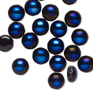 bead, preciosa candy™, czech pressed glass, opaque black with half-coat iris spinel blue, 8mm candy with (2) 0.8-0.9mm holes. sold per pkg of 20.