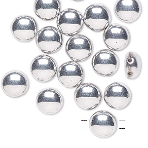 bead, preciosa candy™, czech pressed glass, opaque silver, 8mm candy with (2) 0.8-0.9mm holes. sold per pkg of 20.