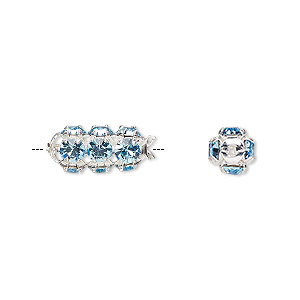 bead, preciosa czech crystal and silver-plated brass, aquamarine, 16x7mm tube. sold per pkg of 12.