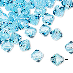 bead, preciosa czech crystal, aqua bohemi, 8mm faceted bicone. sold per pkg of 72.