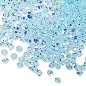 bead, preciosa czech crystal, aqua bohemica ab, 3mm faceted bicone with 0.7-0.8mm hole. sold per pkg of 48.