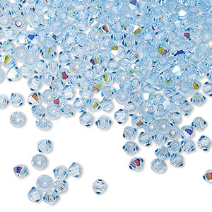 bead, preciosa czech crystal, aquamarine ab, 3mm faceted bicone with 0.7-0.8mm hole. sold per pkg of 144 (1 gross).