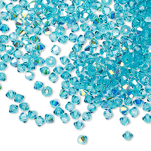 bead, preciosa czech crystal, blue zircon ab, 3mm faceted bicone with 0.7-0.8mm hole. sold per pkg of 144 (1 gross).