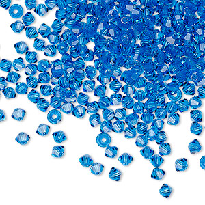 bead, preciosa czech crystal, capri blue, 3mm faceted bicone with 0.7-0.8mm hole. sold per pkg of 48.