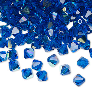 bead, preciosa czech crystal, capri blue ab, 6mm faceted bicone. sold per pkg of 288 (2 gross).