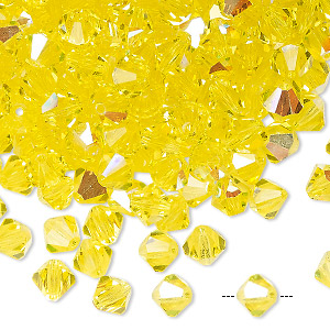 bead, preciosa czech crystal, citrine ab, 6mm faceted bicone. sold per pkg of 24.