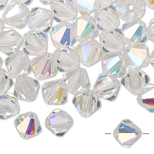 bead, preciosa czech crystal, crystal ab, 8mm faceted bicone. sold per pkg of 144 (1 gross).