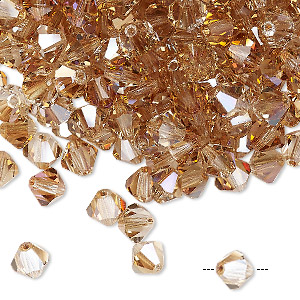 bead, preciosa czech crystal, crystal celsian, 6mm faceted bicone. sold per pkg of 24.