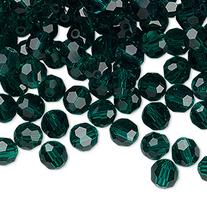 bead, preciosa czech crystal, emerald, 6mm faceted round. sold per pkg of 12.