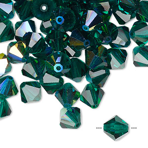 bead, preciosa czech crystal, emerald ab, 8mm faceted bicone. sold per pkg of 144 (1 gross).