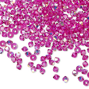 bead, preciosa czech crystal, fuchsia ab, 3mm faceted bicone with 0.7-0.8mm hole. sold per pkg of 1,440 (10 gross).