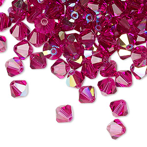 bead, preciosa czech crystal, fuchsia ab, 6mm faceted bicone. sold per pkg of 288 (2 gross).