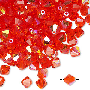 bead, preciosa czech crystal, hyacinth ab, 6mm faceted bicone. sold per pkg of 24.