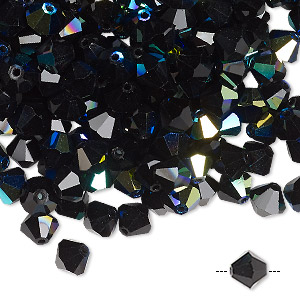 bead, preciosa czech crystal, jet ab, 6mm faceted bicone. sold per pkg of 288 (2 gross).