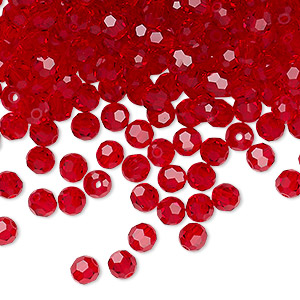 bead, preciosa czech crystal, light siam, 4mm faceted round. sold per pkg of 144 (1 gross).