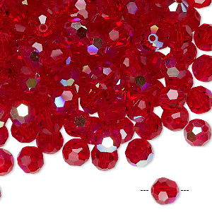 bead, preciosa czech crystal, light siam ab, 6mm faceted round. sold per pkg of 144 (1 gross).