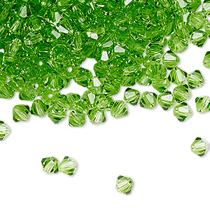 bead, preciosa czech crystal, peridot, 4mm faceted bicone. sold per pkg of 48.