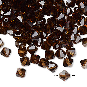 bead, preciosa czech crystal, smoke topaz, 6mm faceted bicone. sold per pkg of 24.