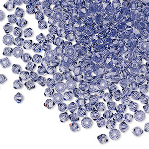 bead, preciosa czech crystal, tanzanite, 3mm faceted bicone with 0.7-0.8mm hole. sold per pkg of 48.
