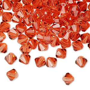 bead, preciosa czech crystal, transparent padparadscha, 6mm faceted bicone. sold per pkg of 288 (2 gross).