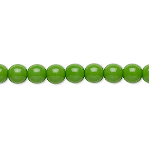 bead, preciosa, czech glass druk, opaque candy green, 6mm round with 0.7-1.1mm hole. sold per 16-inch strand.