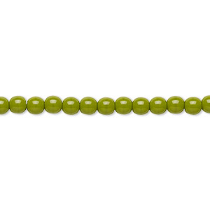 bead, preciosa, czech glass druk, opaque chartreuse, 4mm round with 0.8-1mm hole. sold per 16-inch strand.