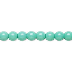 bead, preciosa, czech glass druk, opaque turquoise, 6mm round with 0.7-1.1mm hole. sold per 16-inch strand.