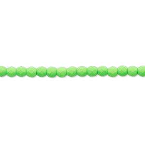 bead, preciosa, czech painted fire-polished glass, matte neon green, 3mm faceted round. sold per 8-inch strand, approximately 65 beads.
