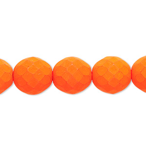 bead, preciosa, czech painted fire-polished glass, matte neon orange, 12mm faceted round. sold per 8-inch strand, approximately 15 beads.