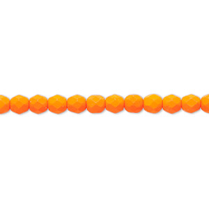 bead, preciosa, czech painted fire-polished glass, matte neon orange, 4mm faceted round. sold per 8-inch strand, approximately 50 beads.