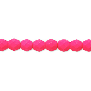 bead, preciosa, czech painted fire-polished glass, matte neon pink, 6mm faceted round. sold per 8-inch strand, approximately 35 beads.