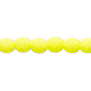 bead, preciosa, czech painted fire-polished glass, matte neon yellow, 8mm faceted round. sold per 8-inch strand, approximately 25 beads.