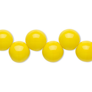 bead, preciosa, czech pressed glass druk, opaque yellow, 10mm top-drilled round with 0.9-1mm hole. sold per pkg of 10.