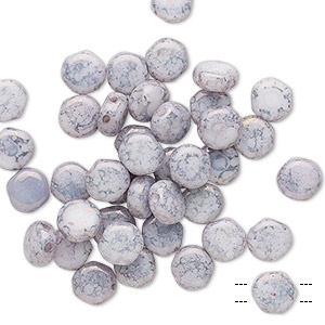 bead, preciosa, czech pressed glass, marbled opaque lavender, 6mm puffed disc with (2) 0.7-0.8mm holes. sold per pkg of 40.