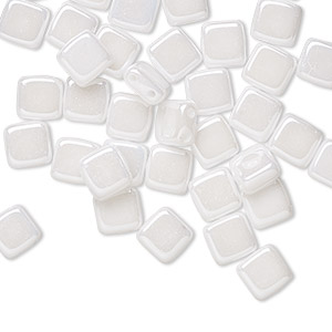 bead, preciosa, czech pressed glass, opaque alabaster snow white luster, 6mm flat square with (2) 0.7mm holes. sold per pkg of 40.