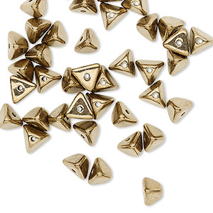 bead, preciosa, czech pressed glass, opaque brass, 6x4mm pyramid with 0.8-0.9mm hole. sold per pkg of 40.
