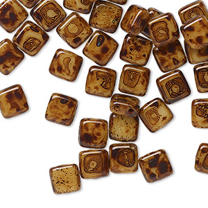 bead, preciosa, czech pressed glass, opaque dark brown tortoise, 6x6mm flat square with (2) 0.7mm holes. sold per pkg of 40.