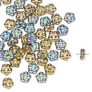 bead, preciosa, czech pressed glass, opaque glittery amber, 5x2mm forget-me-not flower with 0.8-0.9mm hole. sold per pkg of 50.
