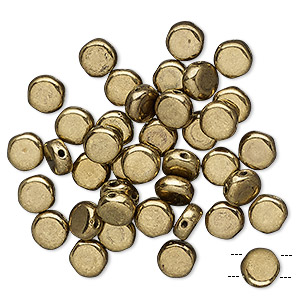 bead, preciosa, czech pressed glass, opaque light bronze, 6mm puffed disc with (2) 0.7-0.8mm holes. sold per pkg of 40.