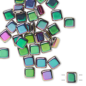 bead, preciosa, czech pressed glass, opaque purple vitrail, 6x6mm flat square with (2) 0.7mm holes. sold per pkg of 40.