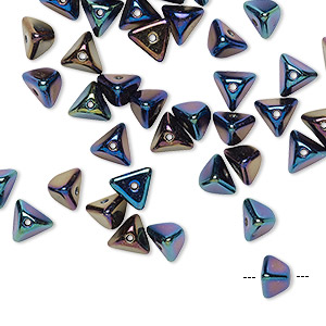 bead, preciosa, czech pressed glass, opaque rainbow jet, 6x4mm pyramid with 0.8-0.9mm hole. sold per pkg of 40.