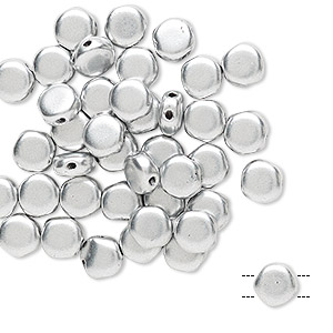 bead, preciosa, czech pressed glass, opaque satin silver, 6mm puffed disc with (2) 0.7-0.8mm holes. sold per pkg of 40.