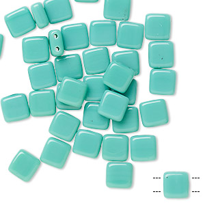 bead, preciosa, czech pressed glass, opaque sea foam green, 6x6mm flat square with (2) 0.7mm holes. sold per pkg of 40.