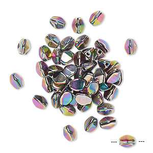 bead, preciosa, czech pressed glass, opaque vitrail purple, 5x4mm buckwheat with 0.7mm hole. sold per pkg of 50.