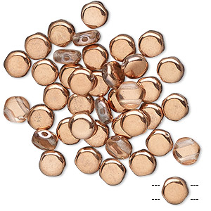 bead, preciosa, czech pressed glass, transparent clear with half-coat opaque copper, 6mm puffed disc with (2) 0.7-0.8mm holes. sold per pkg of 40.