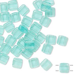 bead, preciosa, czech pressed glass, transparent light aqua, 6x6mm flat square with (2) 0.7mm holes. sold per pkg of 40.