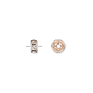 bead, preciosa maxima czech crystal and rose gold-plated brass, crystal clear, 6x3mm rondelle. sold per pkg of 48.