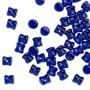 bead, preciosa pellet™, czech glass, translucent cobalt, 6x4mm pellet. sold per pkg of 50.