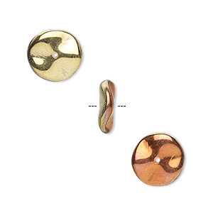 bead, preciosa ripple™, czech pressed glass, opaque california gold rush, 12x3mm ripple. sold per pkg of 100.